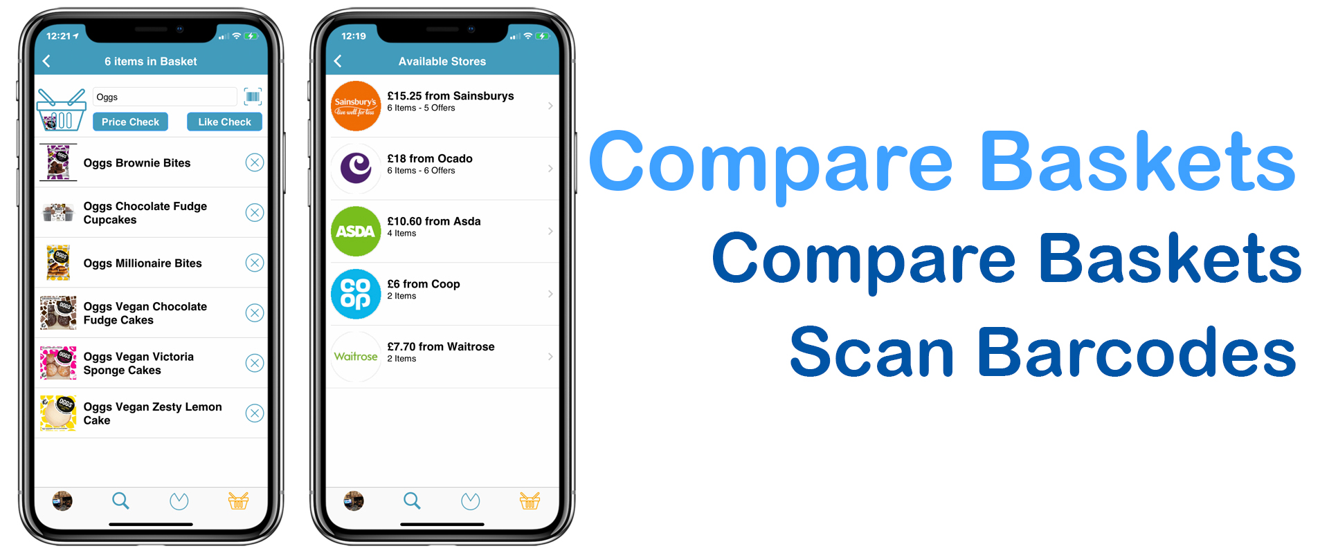 Compare full shopping baskets
